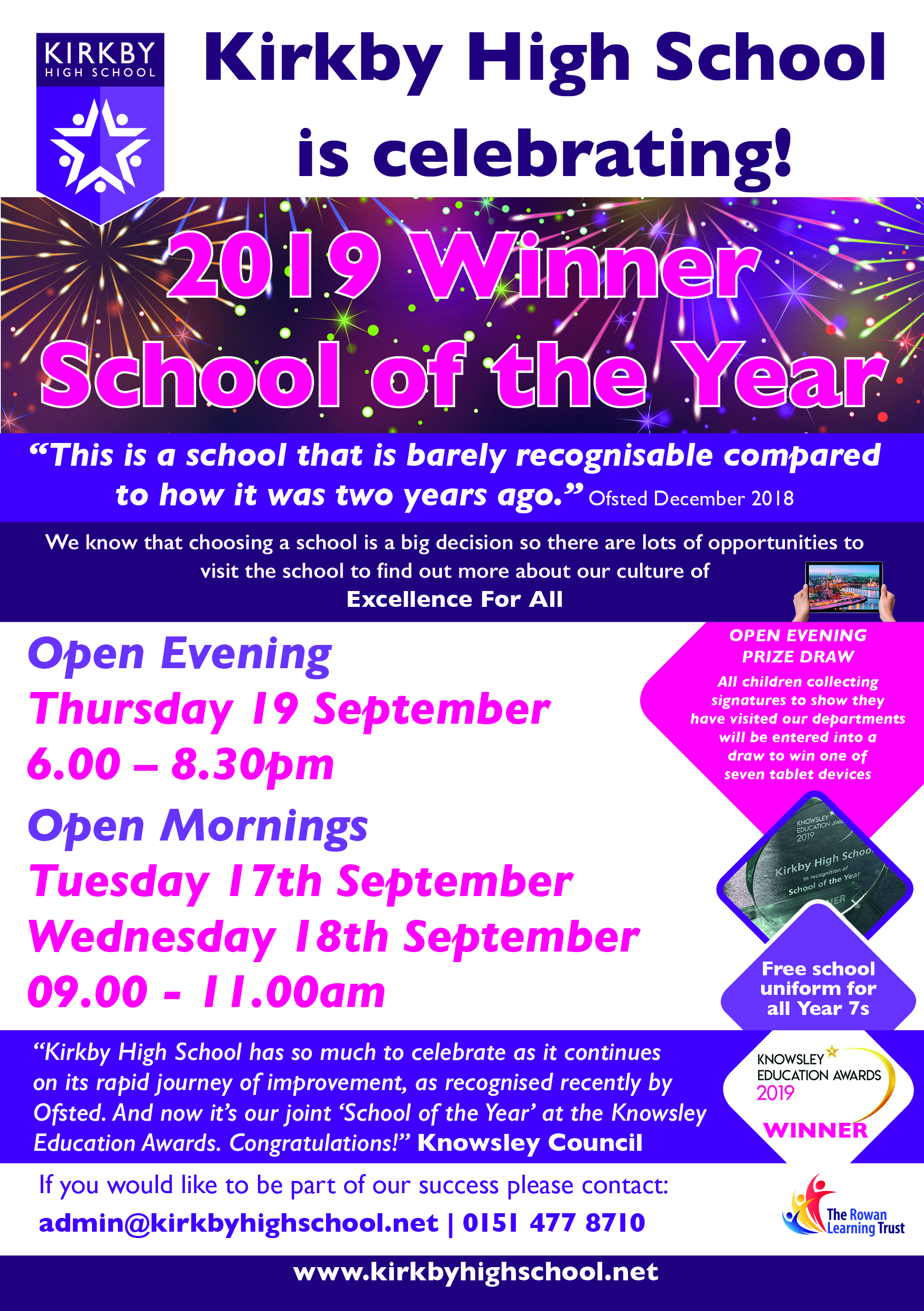 kirkby school of the year open events